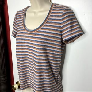 MADEWELL striped tee rust gray blue size XS